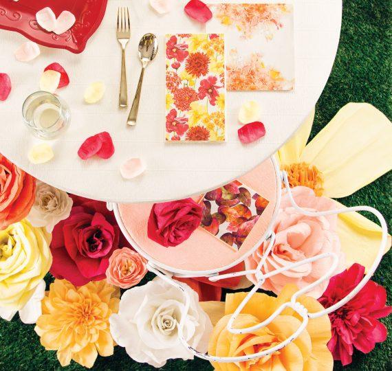 tavolo rose colorate addio al nubilato