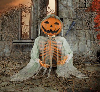 scheletro con testa a zucca per festa tema halloween