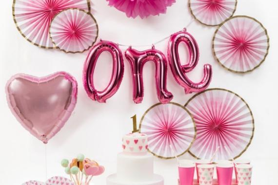 festoni per festa primo compleanno rosa