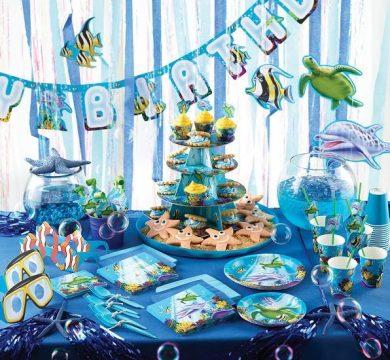 tavola buon compleanno azzurro