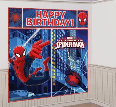 poster buon compleanno spiderman cartoni animati