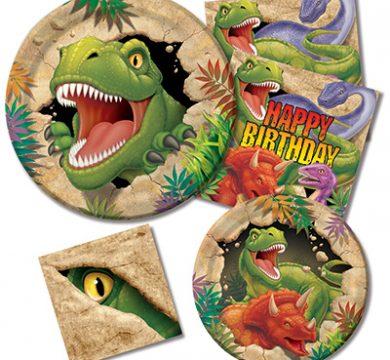 piatti e tovaglioli tema dinosauri