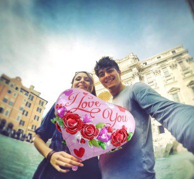 foto coppia palloncino rosa in foil