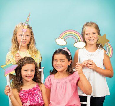 cartoncini per festa tema unicorni