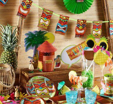 set festini ed articoli maschere tema hawaii