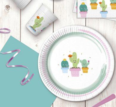 piatti, bicchieri e tovaglioli di carta con disegno cactus per feste compleanno