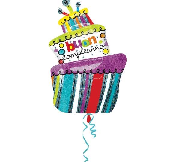 palloncino buon compleanno a forma di torta
