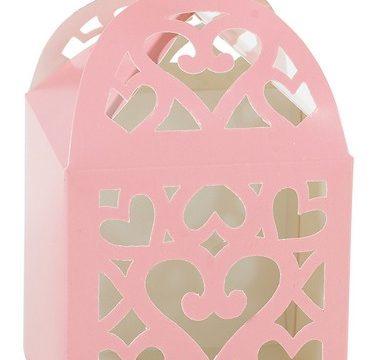 scatola rosa confetti battesimo