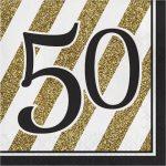 Tovaglioli cinquantesimo oro e nero per feste