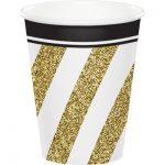 Bicchieri oro e nero per feste